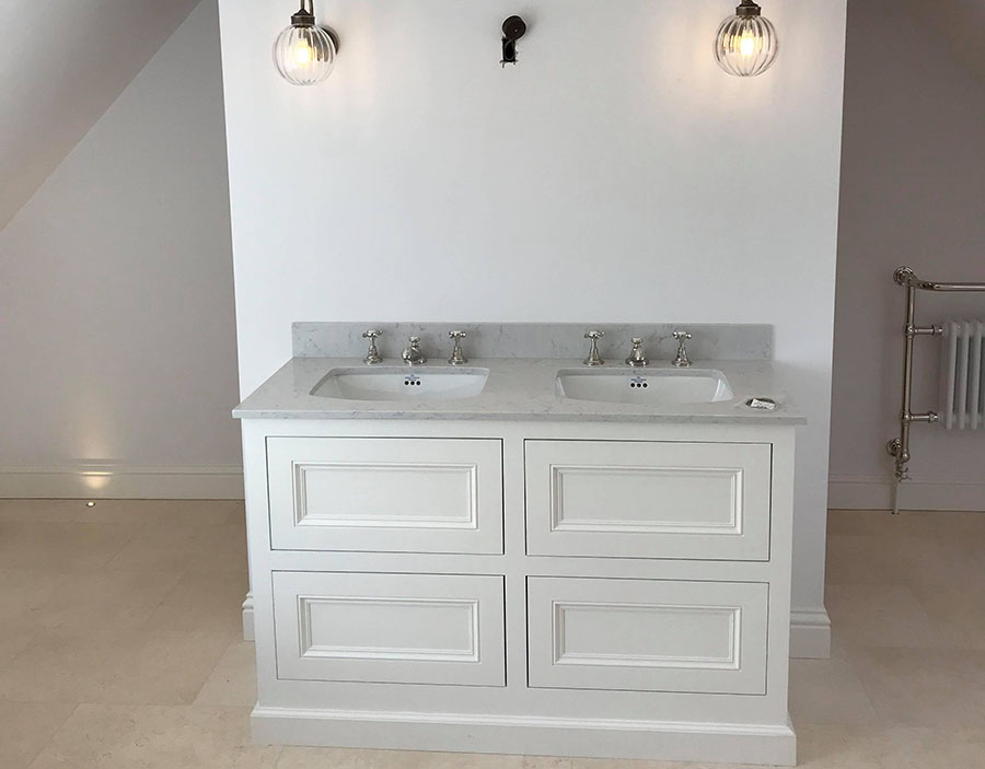 Double sink cabinet in a bathroom